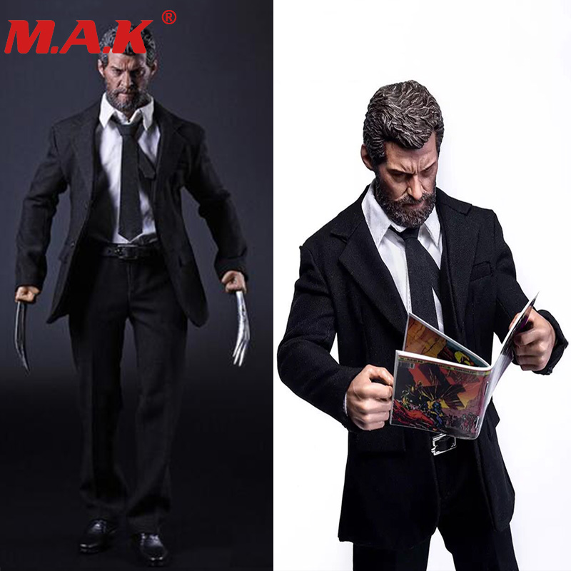 X man wolverine logan 1/6 scale business suit clothes set with claws for 12 inches action figures dolls bodies