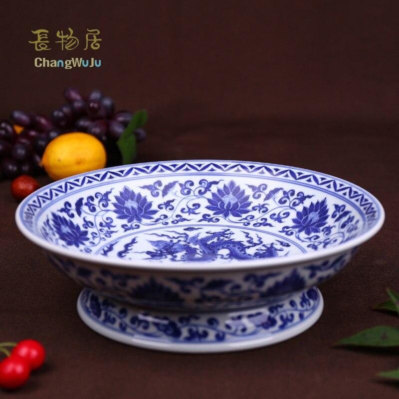 Купить с кэшбэком Changwuju in jingdezhen Ceramic Storage Trays Eco-Friendly Handmade blue white plate for decorating, filling with fruits ,ect
