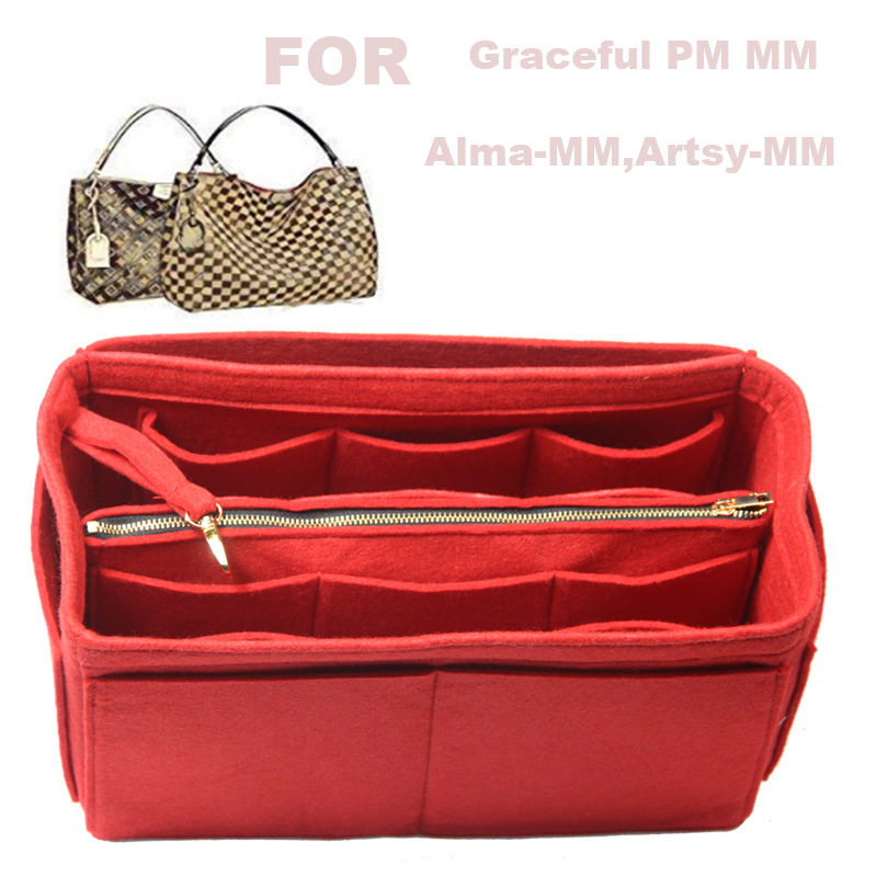 For Graceful PM MM,Alma-MM,Artsy-MM,3MM Felt Tote Organizer (with Middle Zipper Bag) Purse Insert Bag In Bag Cosmetic Makeup