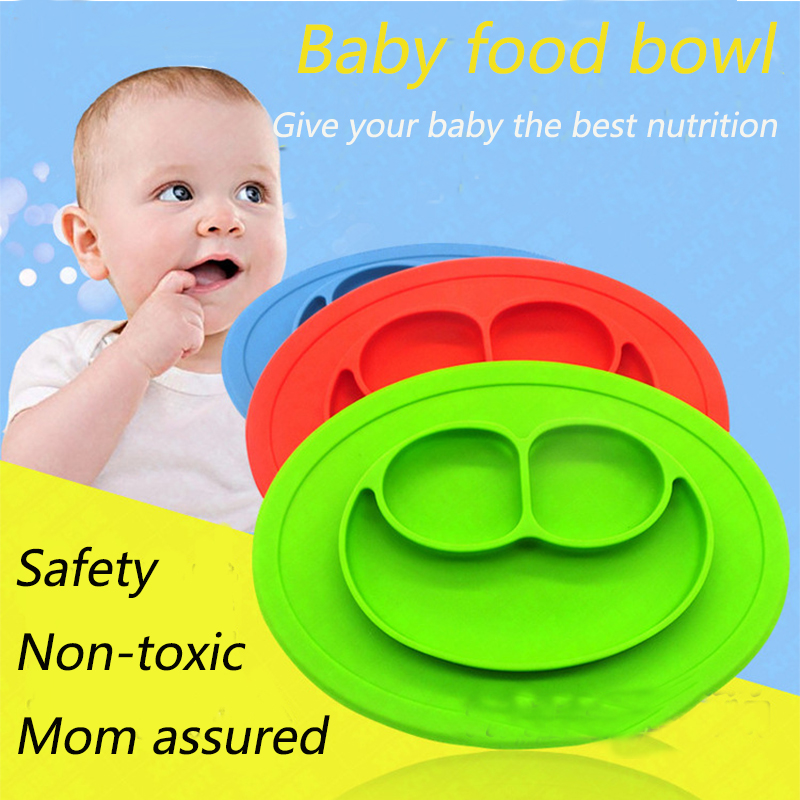 Silicone Integral Placemat Infant Child Dishes Grid Plate Baby baby food dish cup ...