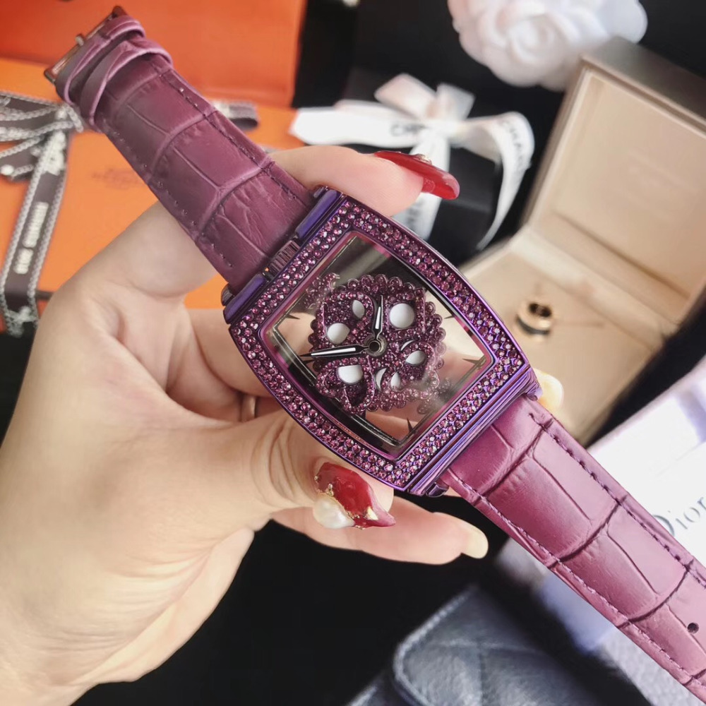 Vintage Tonneau Watches for Women Transparent Spinning Watch Noble Full Purple Crystals Wristwatch Poker Element Rotating Montre