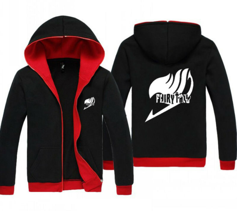 NEW Anime Fairy Tail Logo Red and Black Clothing Casual Sweatshirt Hoodie Unisex Coat Jacket