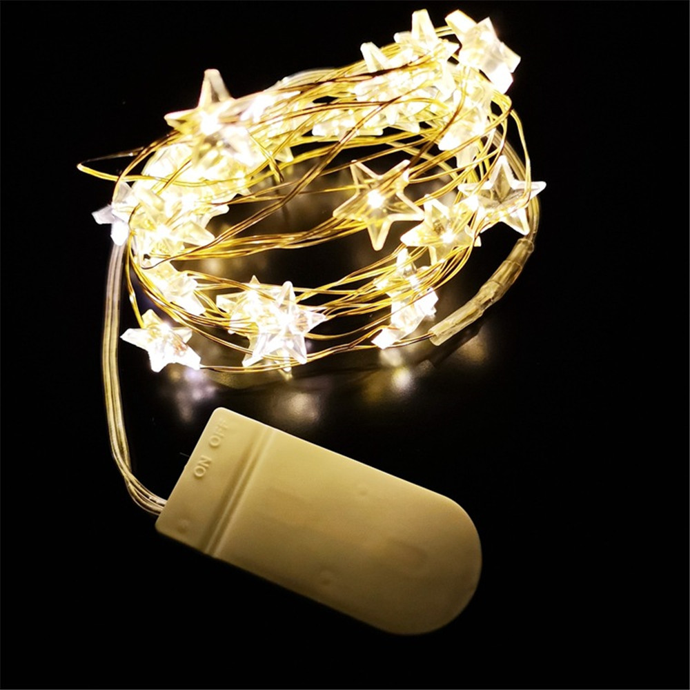 Constructive 2pc Waterproof Led String Light 2m 20led Copper Star Shape Diy Decoration Indoor/outdoorfairy Decoration Party,wedding,birthday