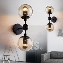 Modern Vintage Glass Mo Do Wall Light Industrial Loft Glass Ball Wall Lamp 110V 220V Bedroom Living Room Indoor Wall LightingE27 loft style clear glass wall lamp black metal glass ball wall light bedroom light dining room light free shipping