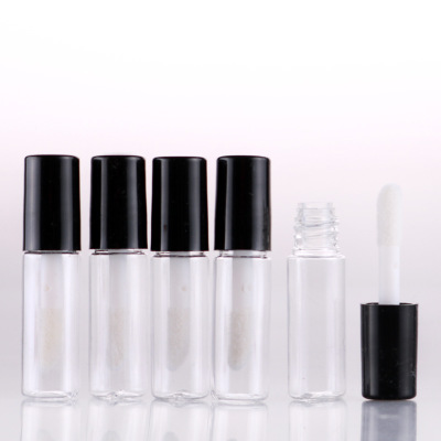 Free Shipping 10pcs/Lot 1.2 Ml High Quality Empty Clear Lip Gloss Tube Black Lip Balm Bottle Container In Refillable Bottles