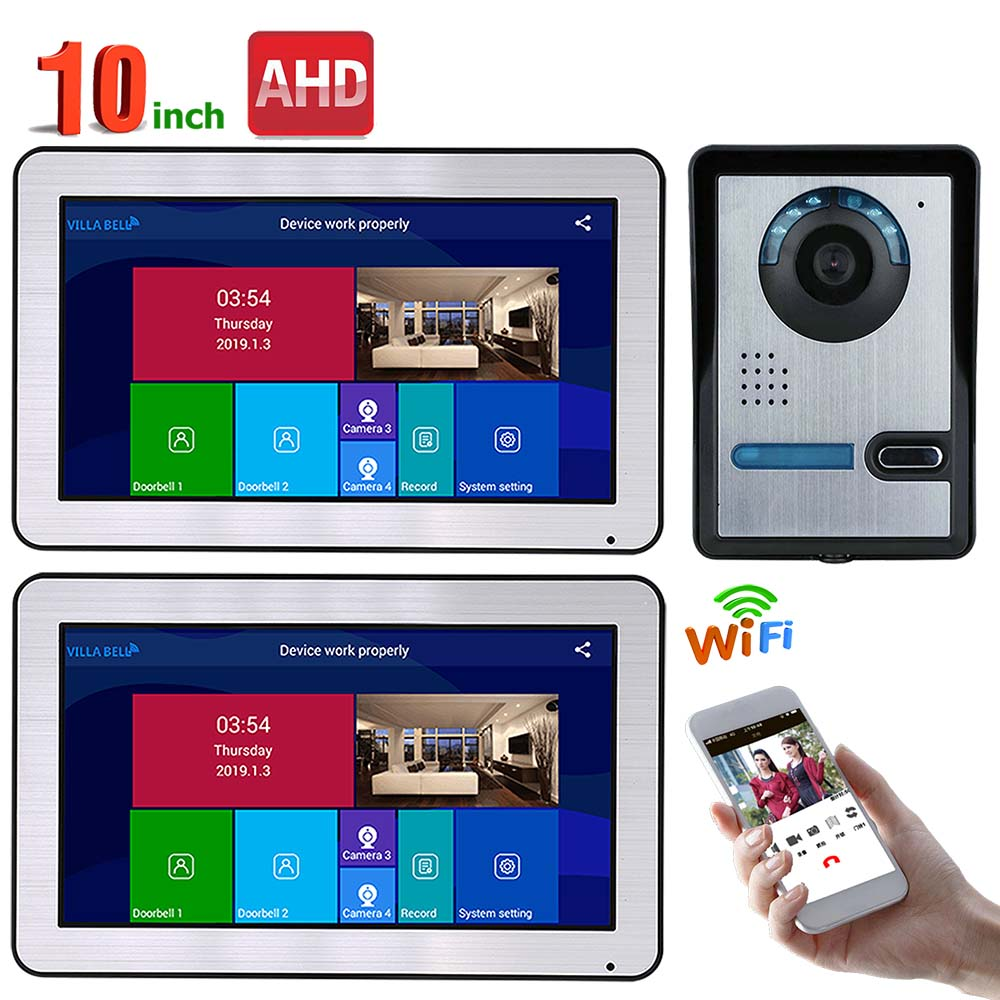 10 Inch 2 Monitors Wired Wifi Video Door Phone Doorbell Intercom Entry System With AHD 720P Wired IR-CUT Camera Night Vision