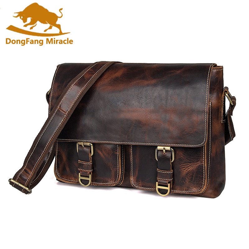 Crazy Horse Genuine Leather Men Bag Crossbody Bags Cover Vintage Messenger Bag Men Leather Brand Handbag Shoulder Bags Mens