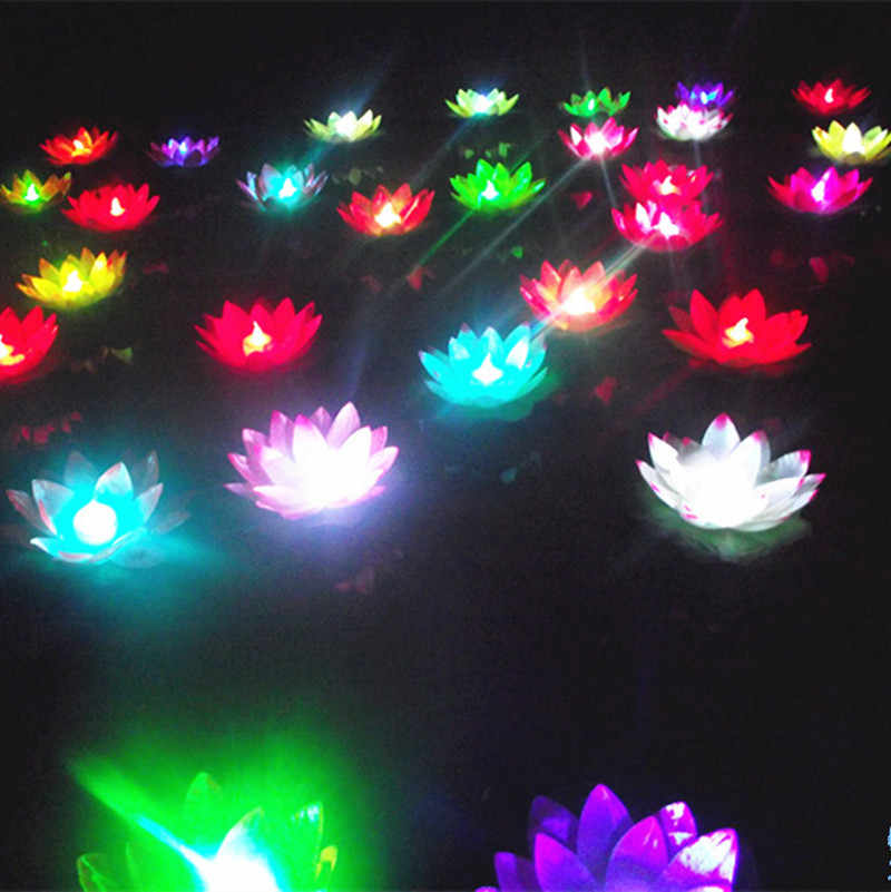10pcs Change Color Electronic Lotus Lantern Light Floating Pool Decorations Night Light LED Light Outdoor Flameless Candles