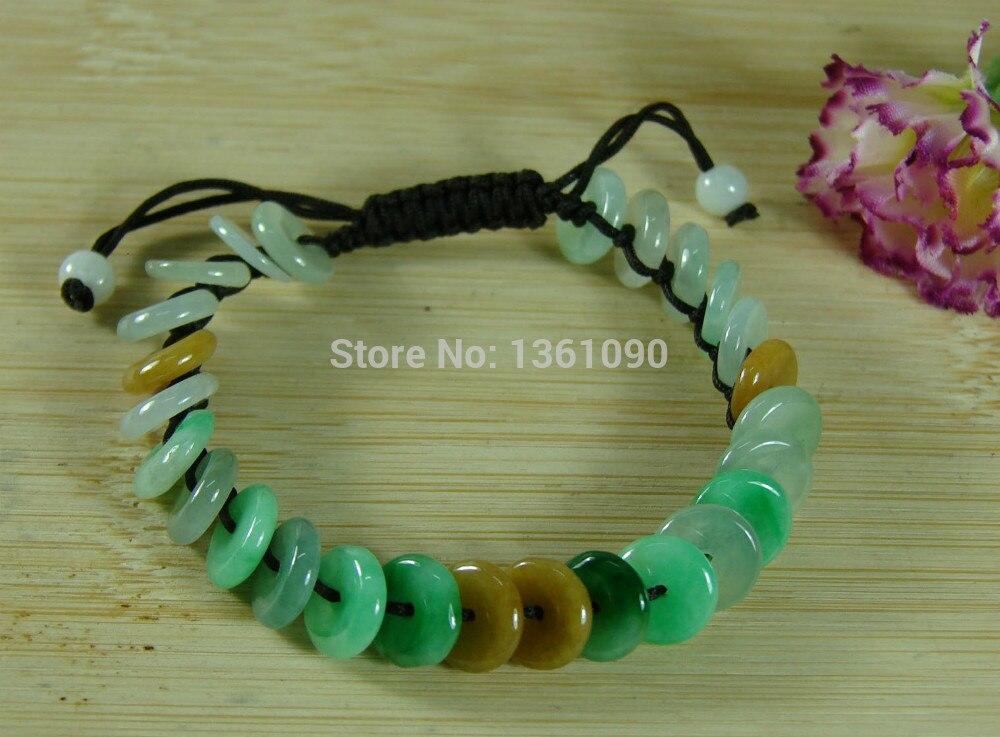 Xd 00577 Certifié 3 Couleur Jade Coin Bracelet Bracelet Naturel Un Jadéite 45-58 MM