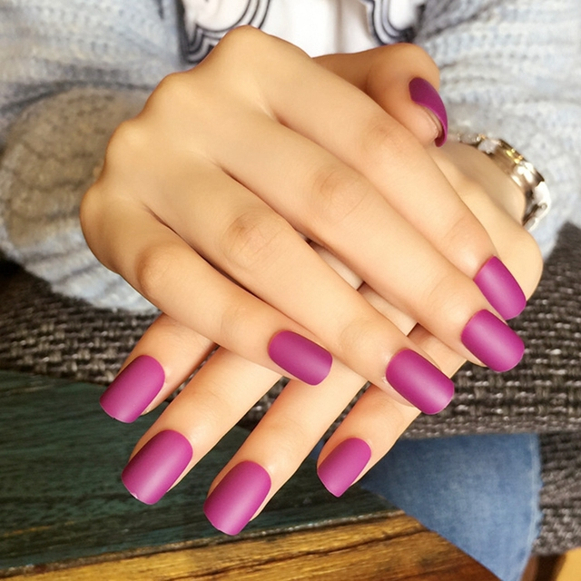 Short Full Cover Matte Nail Art Tips Purple Color Round Frosted Fake Acrylic Nails Lady Daily