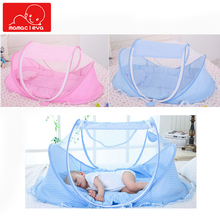 где купить Baby Bed Mosquito Nets Newborn Bedding Crib Netting Folding Bed Cushion with Music Mattress Pillow 3-piece Suit for 0-3 Years дешево