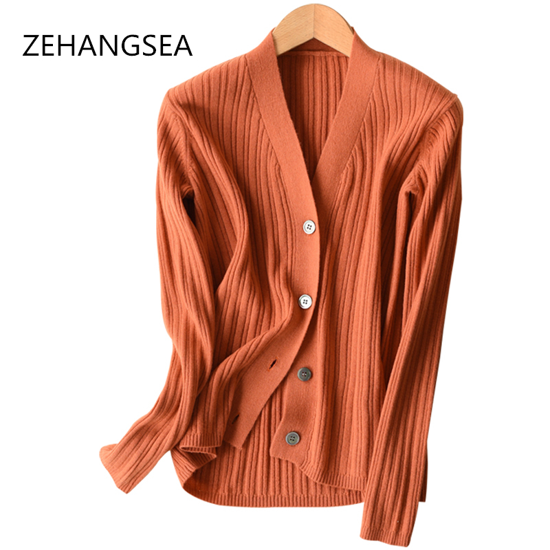 2018 new cashmere cardigan V neck fashion loose solid color simple warm breathable knit cardigan sweater