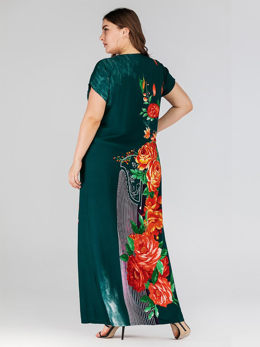 Image 3 - Boho Ethnic Women Short Sleeve Maxi Dress Plus Size Loose Print Floral Dresses Summer V neck Casual Loose Kaftan Dubai Dress New-in Islamic Clothing from Novelty & Special Use