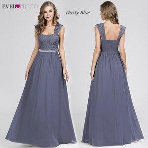 Image 4 - Bourgondië Bruidsmeisje Jurken Elegante Lange A lijn Chiffon Bruiloft Gast Jurken Ever Pretty EZ07704 Grey Eenvoudige Vestido Longo