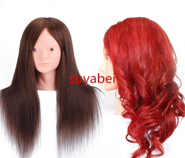 Environ 55 cm longueur de cheveux 100% tête de mannequin de cheveux humains naturels tête de mannequin mannequins de cheveux tête de poupée de style