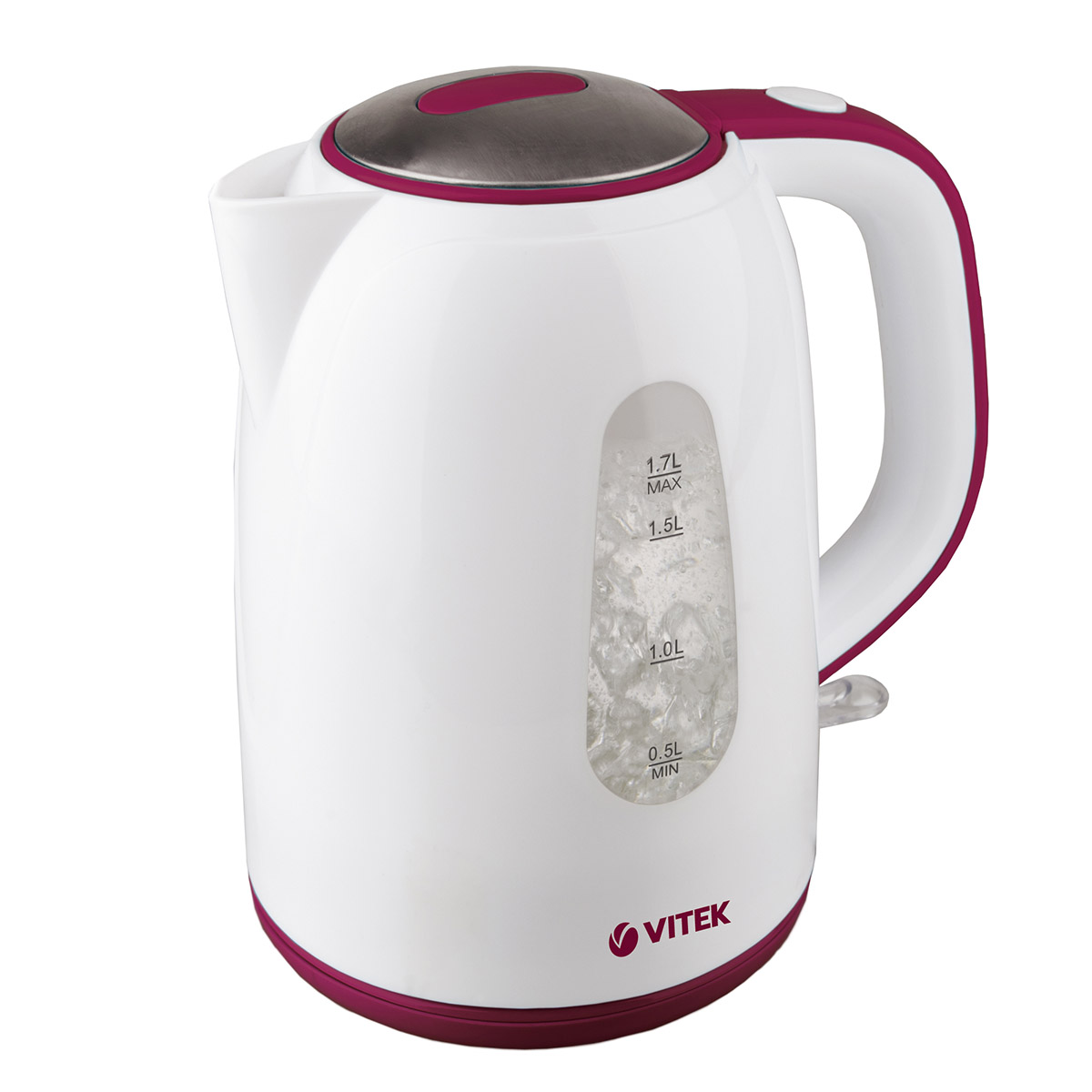 Electric kettle VITEK VT-7006 W (Power 2150 W, volume 1.7 liters, nylon filter, 360 ° rotation) kettle electric galaxy gl0300 red power 2000 w volume 1 8л double wall of stainless steels