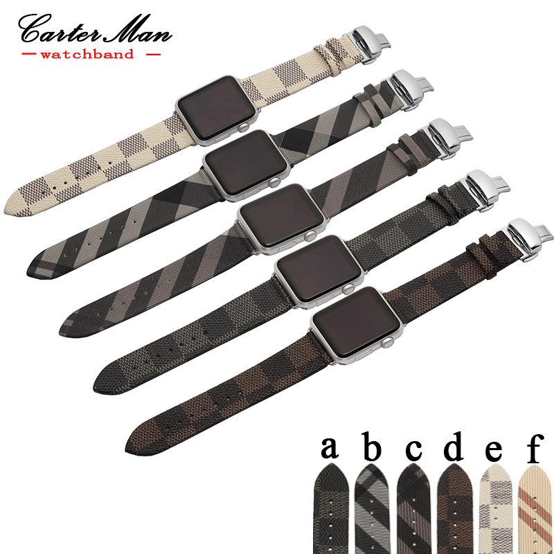 fit apple leather watchband 38mm 42mm High quality fashion straps modle with butterfly buckle Contains adapter