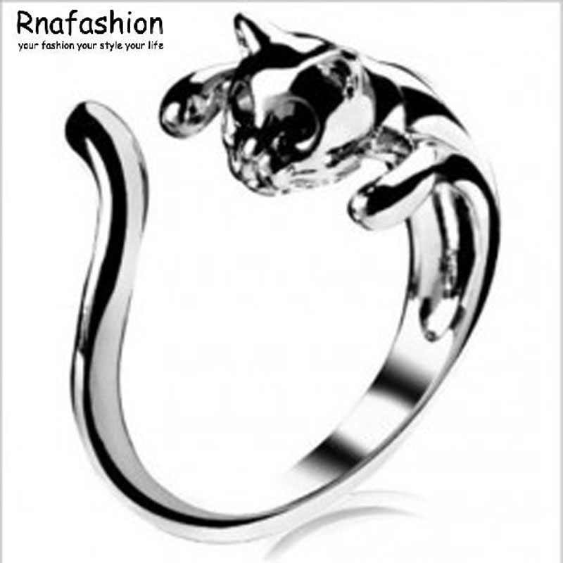 No Minimum Order Hot! women unique Meng things glossy fashion cute cat ring opening -071