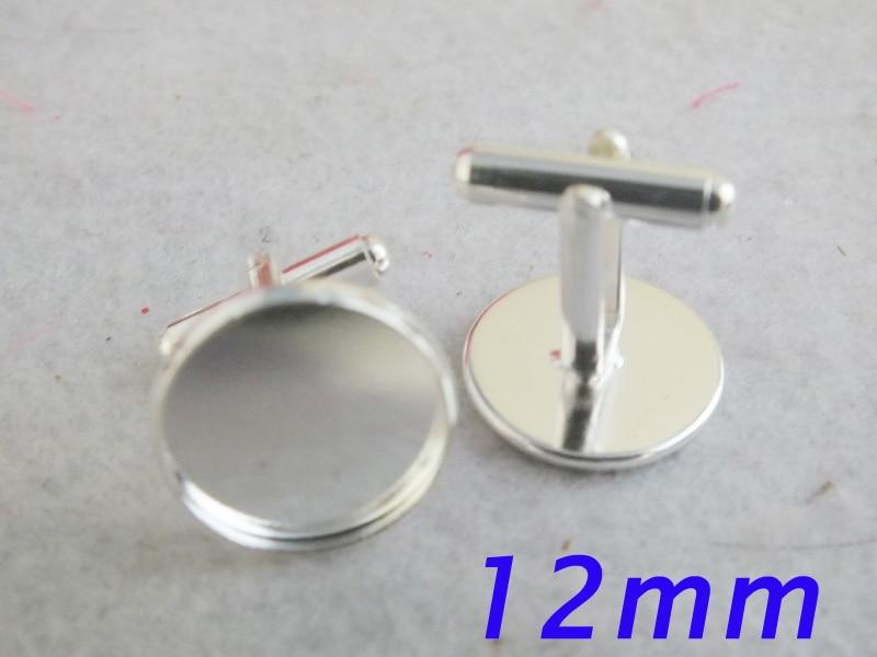 Посеребренные французские запонки пустые 12 мм Pad запонки выводы Z-3376
