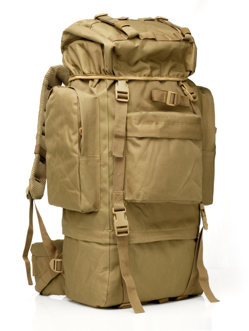 65l tactical travel backpack outdoors camping hiking bag for mountaineers rain cover metal frame