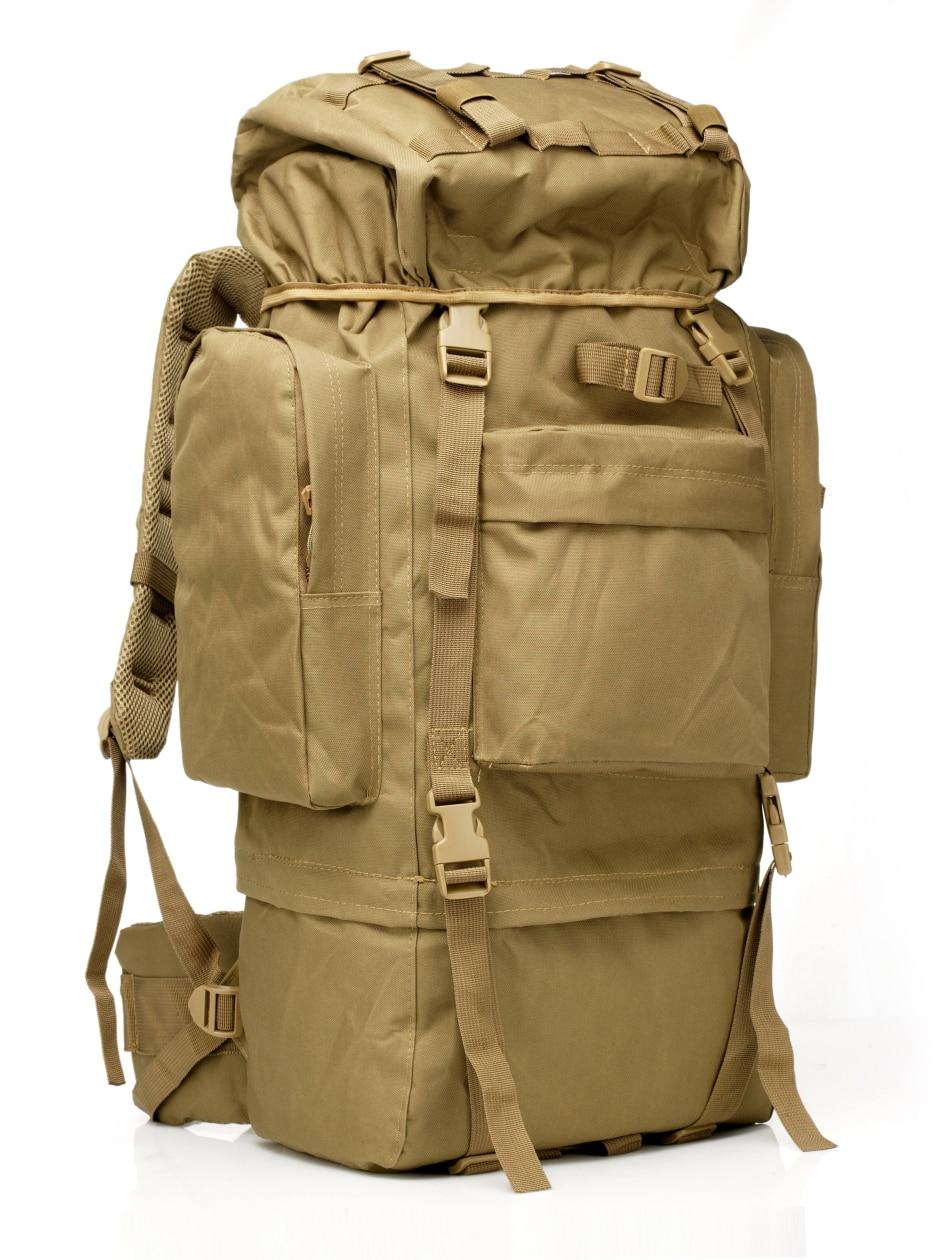 65L sac à dos de voyage tactique en plein air Camping sac de randonnée pour alpinistes couverture de pluie cadre en métal