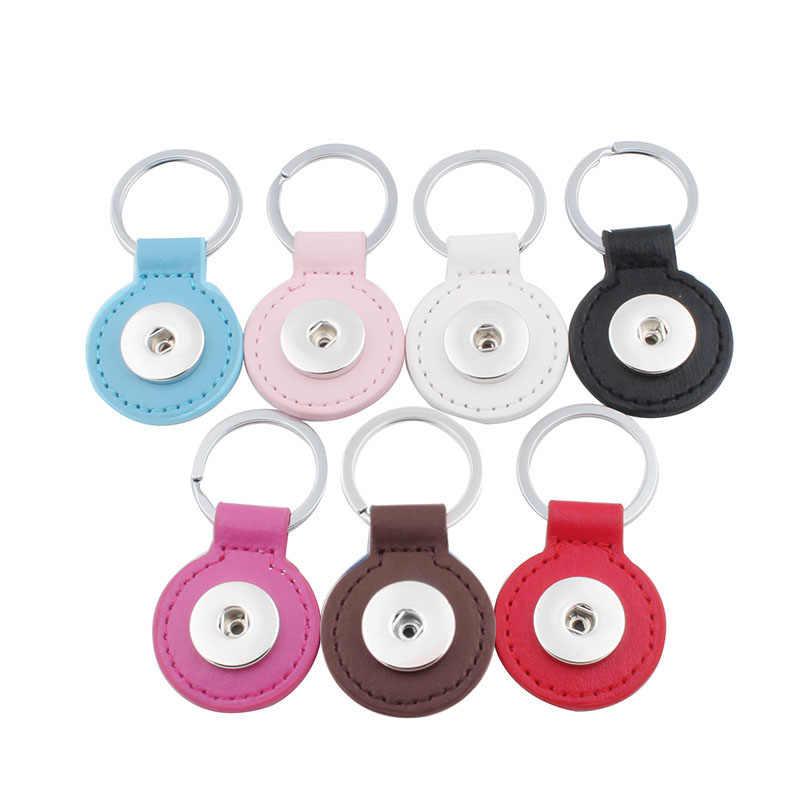 Vendas Hot 7 Cores Xinnver Snap Corrente Chave Para Chaveiro Mulheres Couro do PLUTÔNIO Saco Chaveiro Pingente Fit 18/20mm Botão Snap Jóias ZH019