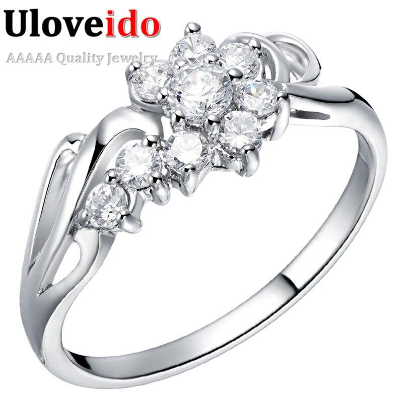 15% Off Venda Anéis De Casamento De Prata de Strass Brincos Flor de Cristal  Anel de Noivado Cúbicos de Zircônia Jóias Femininas Uloveido J254 3c3a84883d