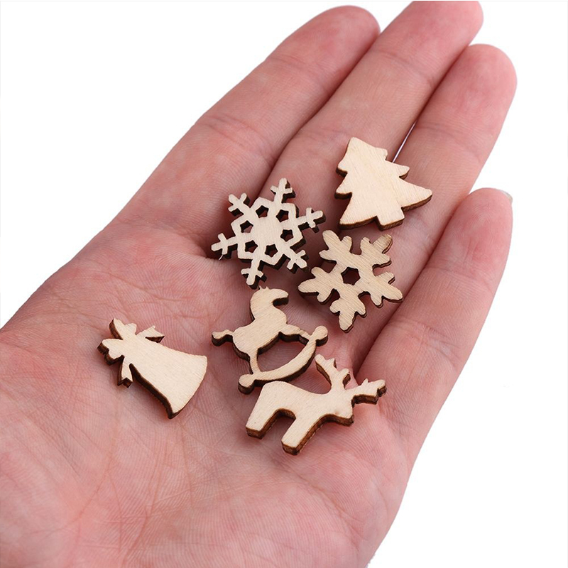 100pcs Christmas Decoration Wooden Snowflake Christmas Tree Deer Trojan  Natural Wooden DIY Christmas Tree Hanging Ornaments F 3