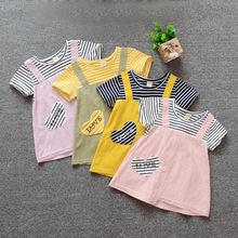 цена на New Toddler Baby Girls Striped dress Summer Short Sleeve Dress Princess Party love heart Tutu Dresses Kids Cotton Clothes