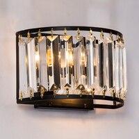 Европейские Кристалл Ванная комната Лампа переднего зеркала E27 лампы современный простой настенный светильник Спальня настольные Ночная б