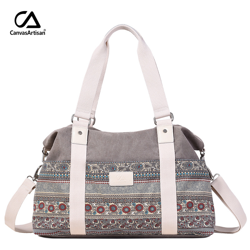 Canvasartisan sieviešu vintage stila Hangbags tērpu daudzfunkcionāls audekls soma ceļojuma rokas bagāža liels capacticy plecu somas