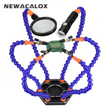 Tools - Welding Equipment - NEWACALOX Soldering Station Third Pana Hand With 6pc Helping Hands USB Rechargeable Flashlight Magnifying Glass Welding Tool