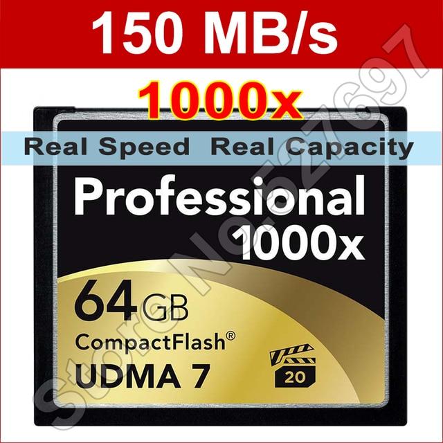 150MB/s Brand 1000x 128GB UDMA 7 CF CompactFlash Memory Card For Canon Nikon DSLR Camera 1080p image Full HD 3D Video Camcorder