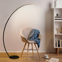 Slim Design LED Floor Lamp with Long Arm in Black or White / Dimmable LED with Remote Controller