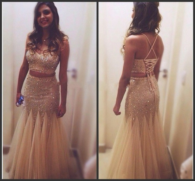 0004ff885 Champagne Two Piece Mermaid Prom Dresses 2016 Gold Sequins Sexy Spaghetti  Strap Back Lace Up Evening Gowns