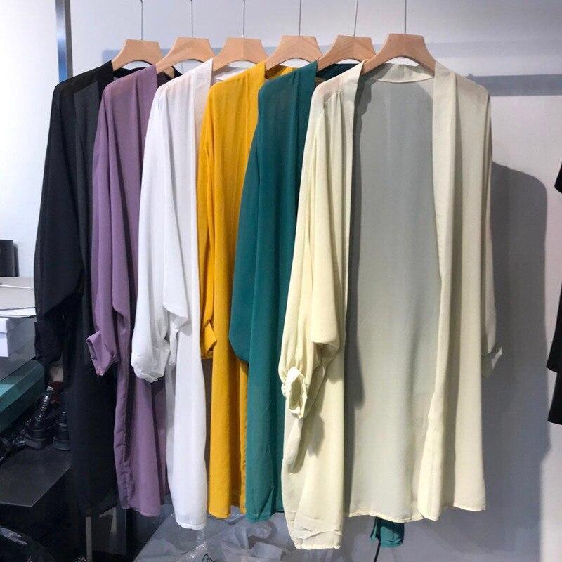 New 2019 Summer Kimono Cardigan Chifffon Casual Loose Thin Beach Kimono Cardigan Solid Long Sleeve V Neck Long Blouse Cover Up