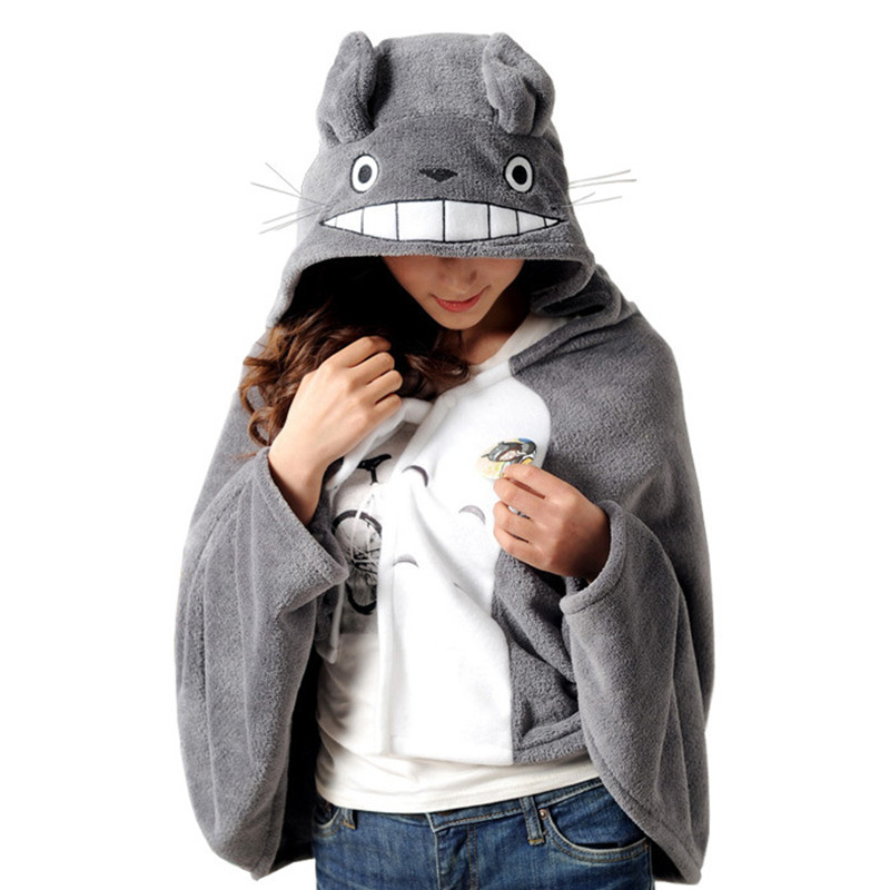 My Neighbor Totoro Lovely Plush Soft Cloak Totoro Cape Cat Cartoon Cloak Coral Fleece Air Blankets Hoodie Party Halloween Gift
