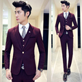Burgundy Suit Jacket Vest Pant Small Plaid Suit Collection Men Suits Navy Burgundy Dinner Dress Suit Wedding Groom Business