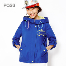 PASS 2017 New Arrival Spring Women Jacket Fashion Net Pathwork Hat Jacket Female Cartoon Print Loose Coat