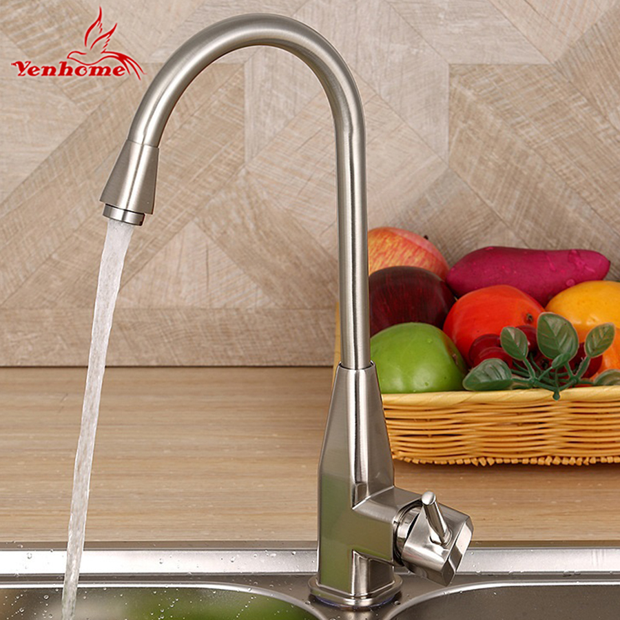 Yenhome Modern Solid Kitchen Mixer Cold and Hot Water Kitchen Tap Torneira Cozinha Single Lever Hole Water Tap Kitchen Faucet