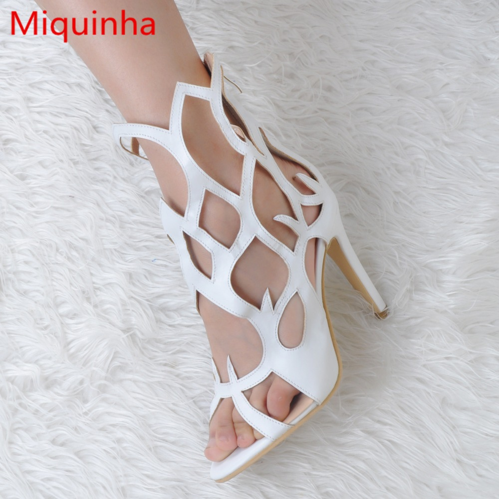 Miquinha Peep Toe Hallow Out Women Sandals Geometric Pattern Sexy High Thin Heel Gladiator Stylish Runway Party Wedding Shoes
