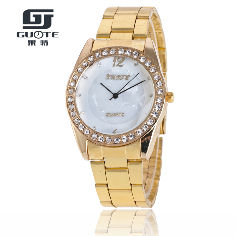 GUOTE High Quality Fashion Casual Women Watches Luxury Golden Belt Wristwatch Full Steel Quartz Gold Watch Relojes Mujer guote hot gold full stainless steel wristwatch fashion casual quartz watches men luxury brand women dress watch relogio male