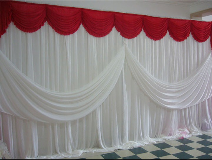 Us 1512 20 Offlatest New Romantic Red Ice Silk Wedding Backdrop With White Swag 3m6m10ft20ft Wedding Decorations Free Shipping In Party