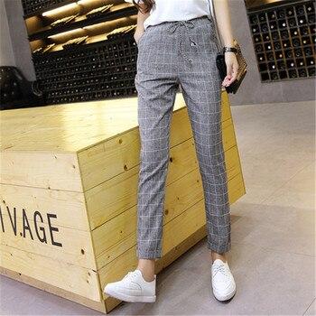 Pantalones Harem a cuadros pantalones 2018 nuevos Primavera Verano holgados  Casual cordón elástico cintura pantalones algodón Lino dropshipping.  exclusivo. f79b9cd1c3df