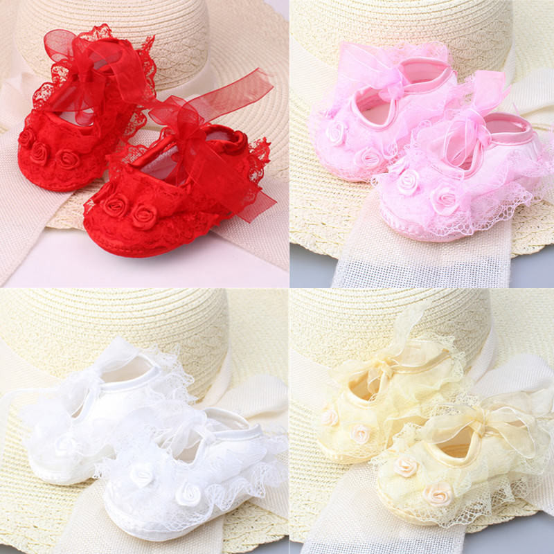 2018 Hot Sell Sweet Toddler Baby Kids Shoes Newborn Girls Non-Slip Lace Flower Princess Shoes Bow Sneaker Soft Crib Shoes 0-12M
