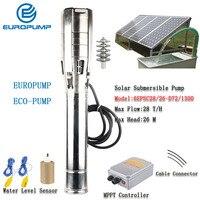 EUROPUMP Solar Pump 6Inch 2HP outlet 3 Max Lift 26M Flow 28000LPH DC Solar Water Pump With MPPT MODEL(6EPSC28/26 D72/1300)