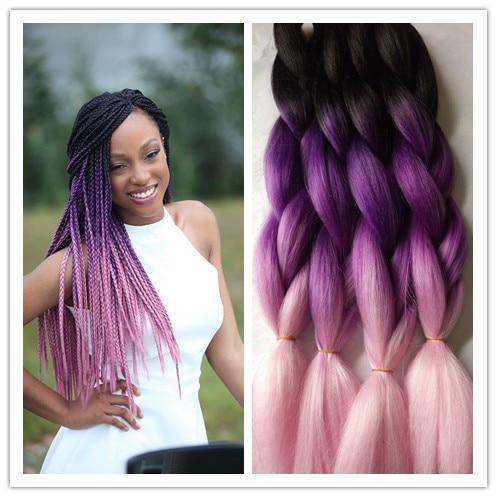 "13pcs 13"" black purple pink Ombre Box Braids Hair Bulk Extensions ..."
