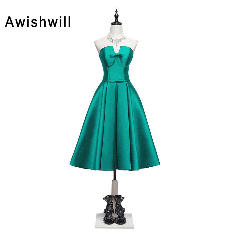 Fashion Robe Soiree Longue Femme Strapless Wedding Party Dress Prom Gown Emerald Green Short Evening Dress Custom Made