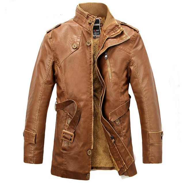 New  Arrival Motorcycle Leather Jacket Men Winter Thick Warm Vintage PU Leather Jackets Mens Trench Coat