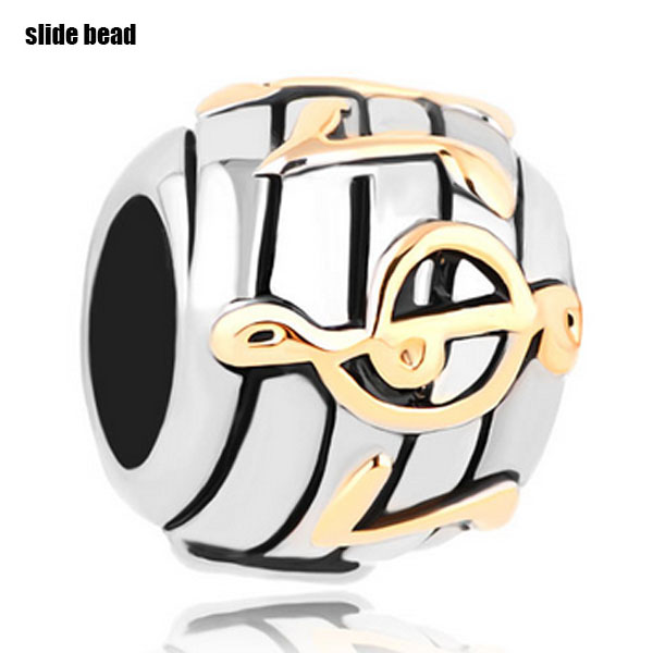 Slide beads Music Notes Fit Beads Charms Bracelets All Brands. Fits Pandora Charms Bracelet